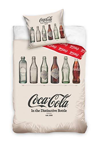 Carbotex Douceur d'Intérieur Coca Cola Junior - Juego de cama (algodón, 140 x 200 cm), diseño de Coca Cola