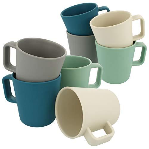 com-four® 8x Melamin Kaffeebecher - Kunststoffbecher aus Melamin - Bruchfeste Kaffeetasse für Camping und Picknick in verschiedenen Farben [Auswahl variiert] (Farbmix 1 260ml - 08 Stück)