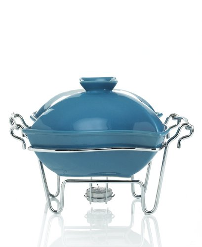 Godinger Siena Porcelain Covered Pagoda Baker with Tealight and Metal Caddy Stand, 32-ounce/1-quart (Blue)
