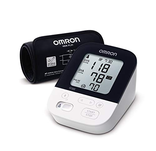 OMRON M4 INTELLI IT Misuratore di Pressione da Braccio con Tecnologia Intelli Wrap Cuff, Connessione Bluetooth per App OMRON Connect