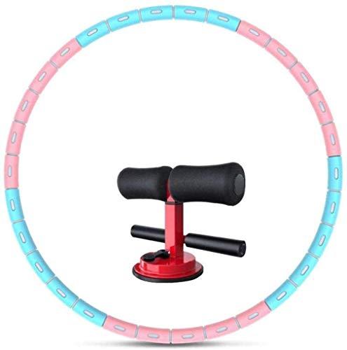 DIMPLEYA porción Hula Capacidad de Empalme 6, los Pesos Desmontables y cinturón Ajustable Delgada Hebilla Profesional,Rosa Bule,diámetro 93 cm