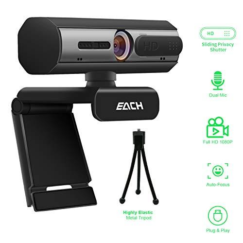 EACH 1080P Full HD cámara Web autofoco, CA601 cámara USB con Cubierta de cámara Web, computadora de Escritorio o portátil Webcam para videollamadas y grabación