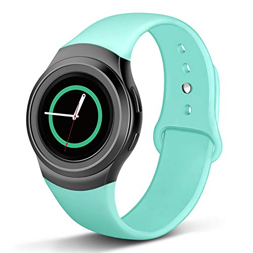 Compatible Gear S2 Band, Soft Silicone Straps Sport Bands Adjustable Replacement Wristband Watch Bracelet for Samsung Gear S2 Smartwatch, Small, Teal