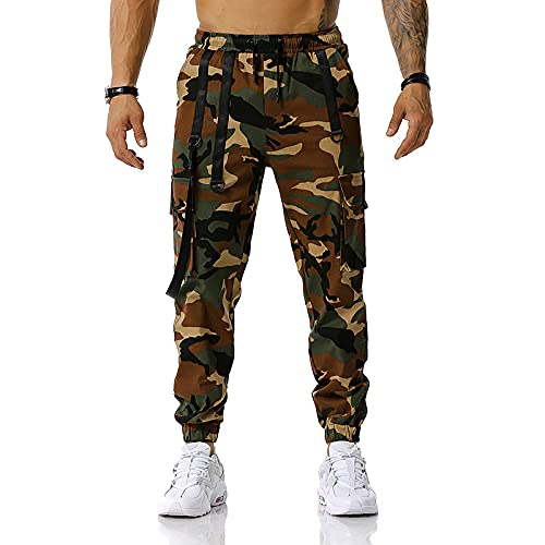 Pantaloni Casual da Uomo Trendy Personality Stitching Camouflage Pantaloni da Jogging Sport all'Aria Aperta Pantaloni da Allenamento per Il Calcio Tuta da Fitness M