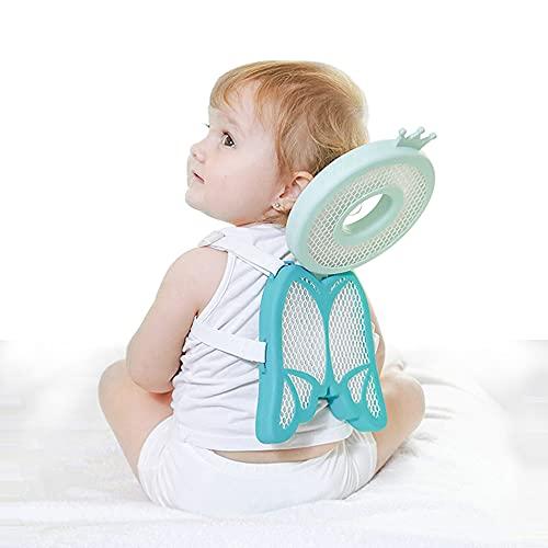 SNDMOR protector de la cabeza del bebé, almohada de caída del bebé, alfombra de seguridad para la cabeza del niño, mochila suave y transpirable ajustable(ángel verde)