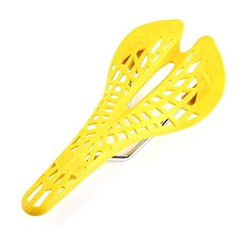 Sillines de bicicleta MTB Asiento de bicicleta de plástico súper ligero, asiento de sillín de bicicleta de montaña, 6 colores transpirable PVC amortiguador piezas de bicicleta (color: amarillo)
