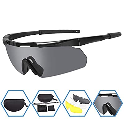 XAegis Tactical Military Goggles 3 Interchangeable Lenses, Outdoor Antifog Safety Glasses & Hard Shell Case - Unisex Shooting Glasses Cycling, Driving, Hiking,Fishing, Hunting - Black Frame
