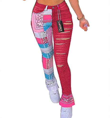 Keepwo Jeans rasgados para mujer Jeans Skinny Jeans impresos Slim Fit Stretch Pants Jeans