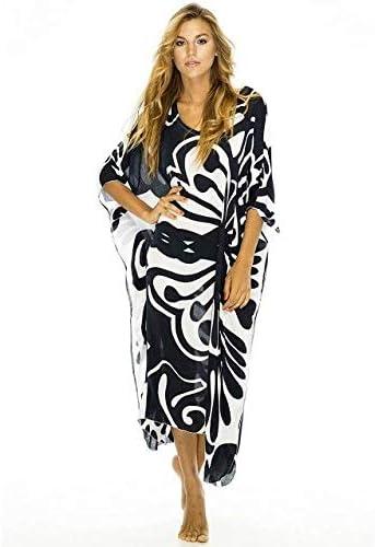Beach Swimsuit for Women Half Sleeve Cover ups Black Butterfly Pattern Deep V-Neck Side Split Beachwear Bikini Cover Ups