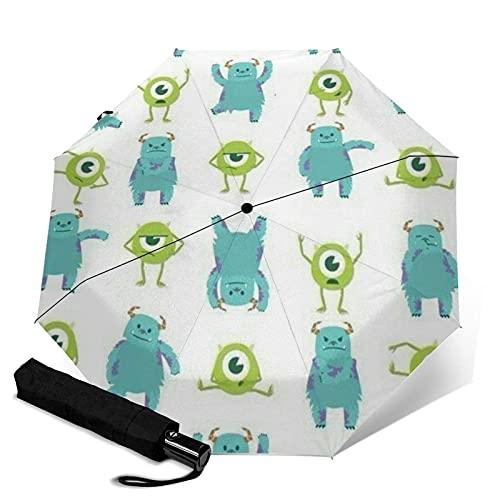 Paraguas plegables Monsters University - Paraguas automatización de tres pliegues, compacto y Portátil, plegable, impermeable, antirrayos UV