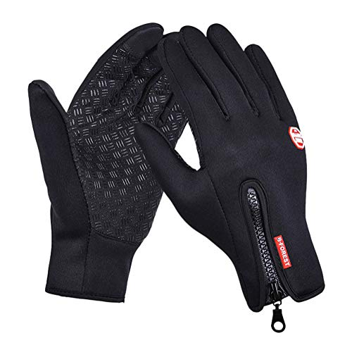 Minetom Touchscreen Handschuhe Wasserdichter Laufhandschuhe Warme Rutschfestes Handschuhe Für Herbst Oder Frühling Laufhandschuhe Für Fahren Skifahren Schwarz (Silikon) Large