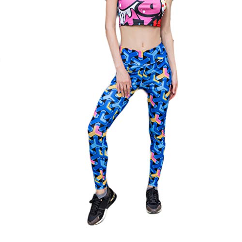 WOZOW Damen Leggings Anime Geometric Farbverlauf Colorful Muster Yoga Kurze Hosen Stretch Sporthosen Skinny Slim High Waist Fit Pants (M,Dunkelblau)