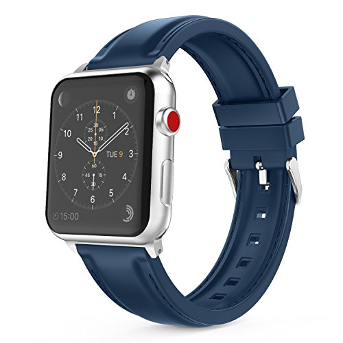 MoKo Cinturino per Apple Watch 38mm 40mm, Morbido Braccialetto Sportivo in Silicone con Cucitura per Apple Watch 38mm 40mm di Series 1/2/3/4/5, Nike+ 2017, Blu Notte