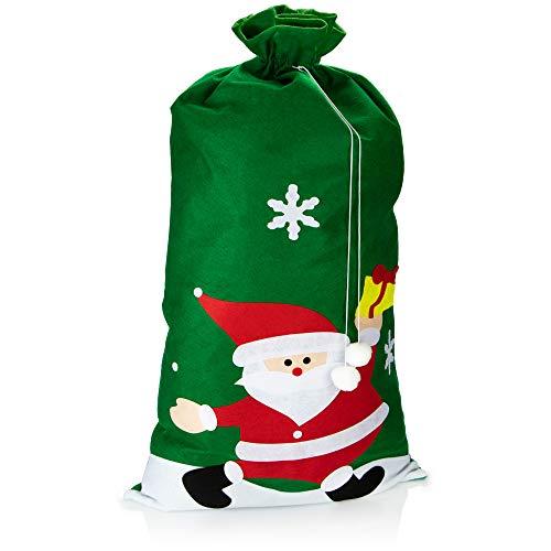 com-four Bolsa de Regalo XXL para Navidad con Motivo de Papá Noel - Bolsa de Papá Noel para llenar - Saco de Navidad para Disfraz de Papá Noel