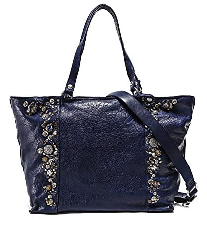 Campomaggi Mujeres bolso shopper de cuero adornado Blue One Size