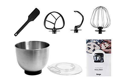 Venga! VG M 3014 Küchenmaschine mit Rührschüssel – 1000W Motor, Kunststoff, Edelstahl, 5L, Schwarz - 4