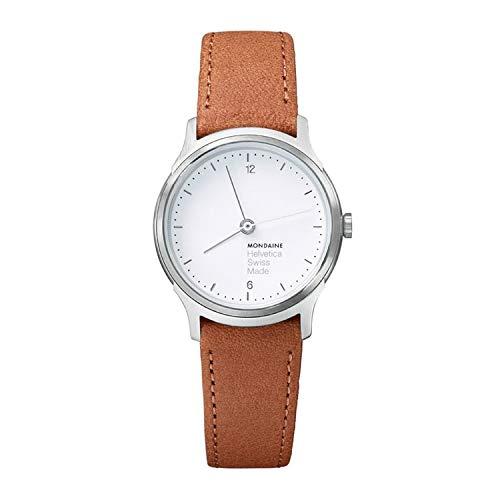 Mondaine Helvetica No1 Light dameshorloge, witte wijzerplaat met dunne wijzers, lichtbruine suède armband