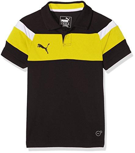 PUMA Kinder Polo Spirit II Poloshirt, Black-Cyber Yellow, 176
