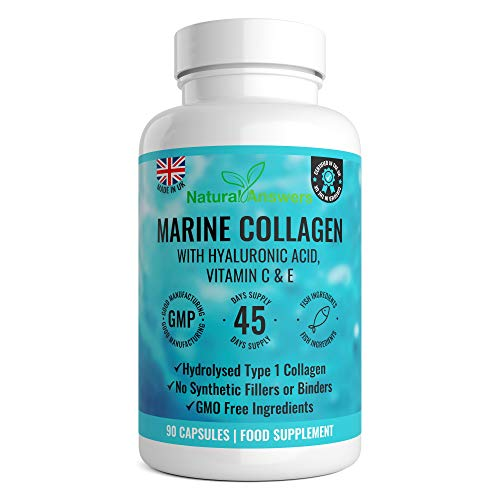 Marine Collagen 1000mg - 90 Capsules of Superior Type 1 Hydrolysed Collagen - Enhanced with Hyaluronic Acid, Vitamin C, Vitamin E, Vitamin B2, Zinc, Copper and Iodine - Made in The UK