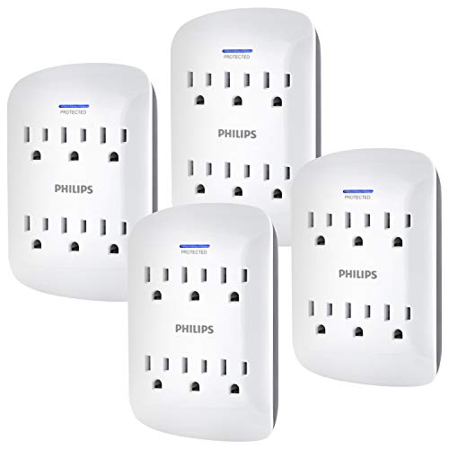 Philips 6-Outlet Extender Surge Protector, 900 Joules, 3 Prong, Space Saving Design, Protection Indicator LED Light, 4 Pack, White, SPP3469WA/37