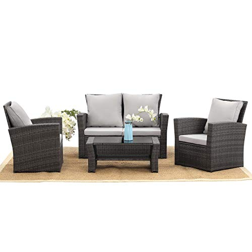 Harrier Rattan Sofa & Coffee Table Set (4 Piece) - Outdoor Patio Garden Furniture | 4 Seater Chair Set With Cushions | Grey & Brown/Cream Colour Options (Brown & Cream)