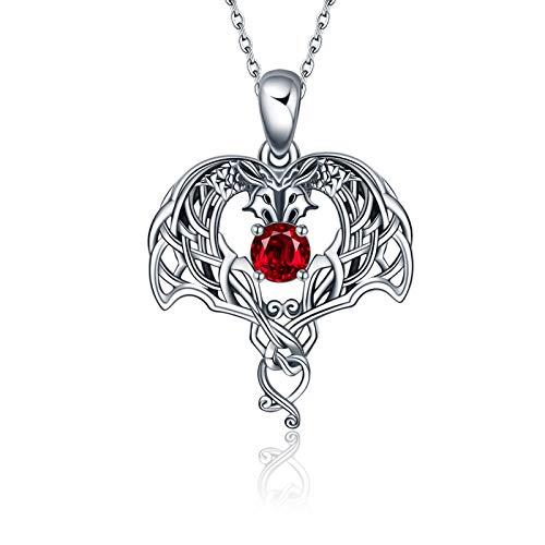 ONEFINITY Sterling Silver Dragon Necklace Irish Celtic Knot Dragon Anime Dragon Pendant Viking Jewelry Irish Gifts for Women Her