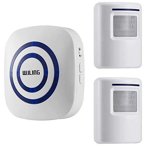 WJLING Motion Sensor Alarm System, Wireless Home Security Driveway Monitor Alarm, Motion Sensor Detector Alert with 2 Sensor and 1 Receiver -38 Chime Tunes - LED Indicators (Renewed)