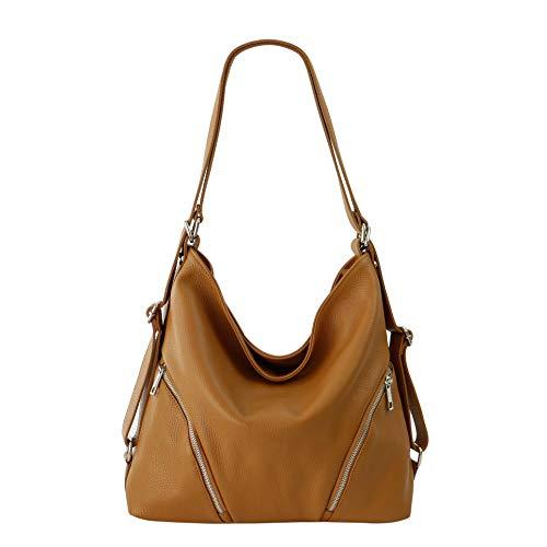 SH Leder 2in1 Handtasche Rucksack Damen Schultertasche Daypack CityRucksack aus Echt genarbt Leder (B 35cm x H 34cm xT 12cm) Sara G689 (Cognac)