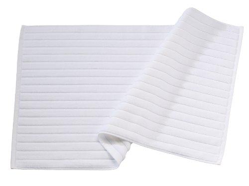 BLANC CERISE Tapis de Bain Blanc - Coton peigné 1000 g/m 060x100 cm