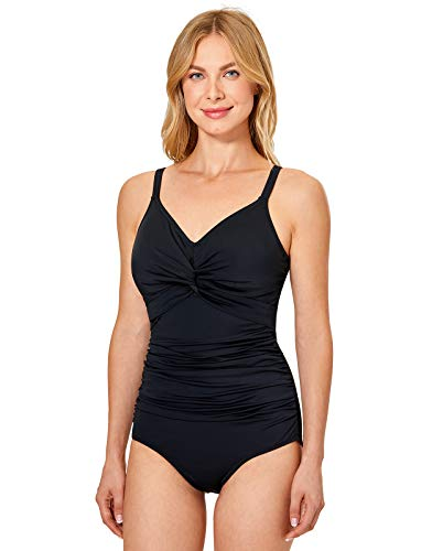 DELIMIRA Women's Swimsuit B-H Cup Tummy Control Underwire Support One Piece Bathing Suit Black 34E