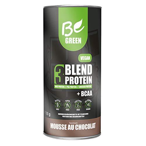 BeGreen 3Blend Vegan-Protein mit BCAA und B12   Mousse au Chocolate   Pflanzliches Eiweisspulver aus Reis-Erbsen-Leinsamen-Protein   laktosefrei, glutenfrei ohne Zuckerzusatz   700 g Pulver