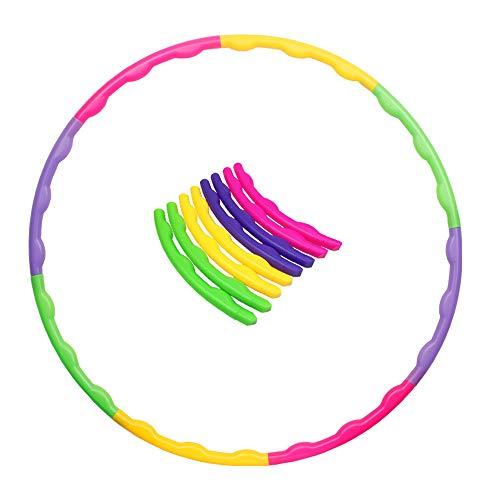 8 Teile Kinder Hoola Hoop Reifen farbig Durchmesser 65 cm hochwertig, zerlegbar, klein, für Training, Sport & Spiel
