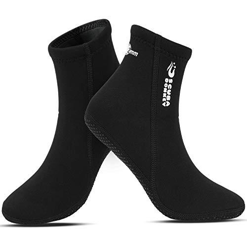 QKURT Calcetines de Neopreno de 2 mm, calcetín de Traje de Neopreno para Buceo, Snorkel y Deportes acuáticos, Calcetines Antideslizantes para Hombres Mujeres