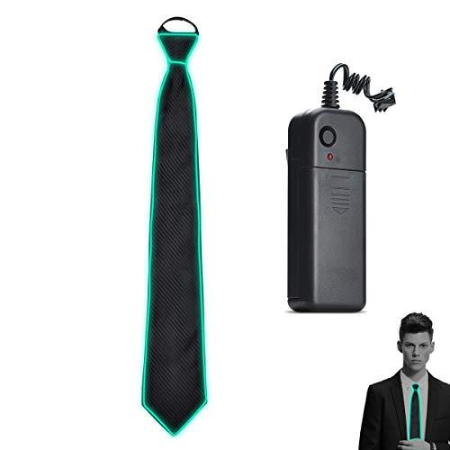 Aogbithy LED Tie 10 Farbe Leuchten Neuheit Krawatte Leuchtende Glühbänder Männer Frauen Jungen Weihnachtskostüm Zubehör AA Batterie Netzteil (Fluorescent Green)