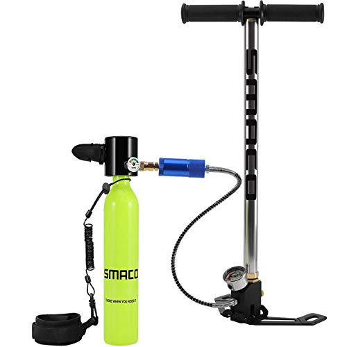 Qians Smaco Scuba Diving Tank Equipment, Mini Scuba Dive Cylinder with 10 Minutes Capability, Pressure & Corrosion Resistant Material
