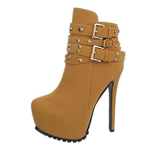 Ital-Design Damenschuhe Stiefeletten Ankle Boots Synthetik Camel Gr. 38