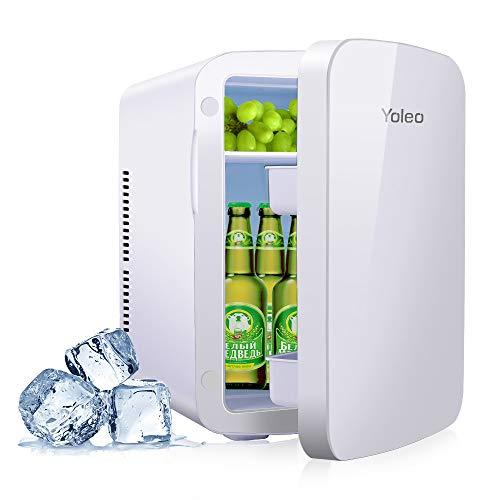 YOLEO mini-kühlschrank 15L Edelstahl, Warmhaltebox Kühlbox Auto mit Kühl- und Heizfunktion, 0~65 ℃ Temperatureinstellbar, für Schlafzimmerbüro RV Auto, für Getränk Kosmetik Milch