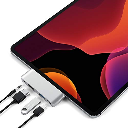 SATECHI Aluminum Type-C Mobile Pro Hub Adapter met USB-C PD Charging, 4K HDMI, USB 3.0 & 3,5mm Koptelefoonaansluiting – Compatibel met 2018 iPad Pro, Microsoft Surface Go en meer (Zilver)
