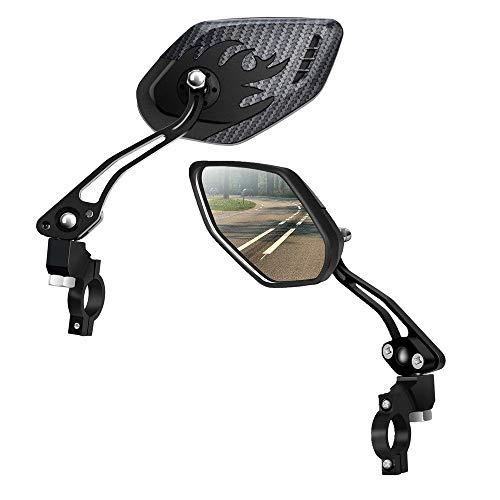 ASEOK Espejos para Bicicletas [Versión Mejorada] Two PCS HD, Resistente a Explosiones Barra de Lentes de Vidrio Extremo de Bicicleta, Bicicleta Espejo de Cristal,Rotativo Seguro Retrovisor