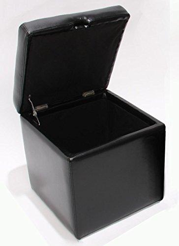 Mendler Pouf Tabouret Cube-Coffre Onex, Cuir, 45x44x44cm, Noir