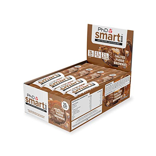 PhD Smart Bar, High Protein Low sugar chocolate coated snack (Salted Fudge Brownie), 12 Bars