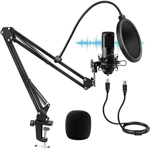 Micrófono de Condensador USB, UYIKOO Micrófono PC Gaming Profesional Cardioide 192kHz/24Bit para Grabar Música y Video Podcast Transmisión en Vivo Juegos Chat Soporte de Brazo