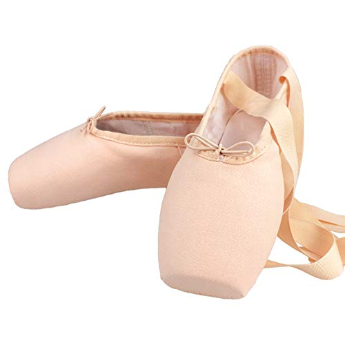MSMAX Womens Pointe Shoes Canvas Ballet Dance Performa Shoe with Silicone Toe Pad 5 M US Women