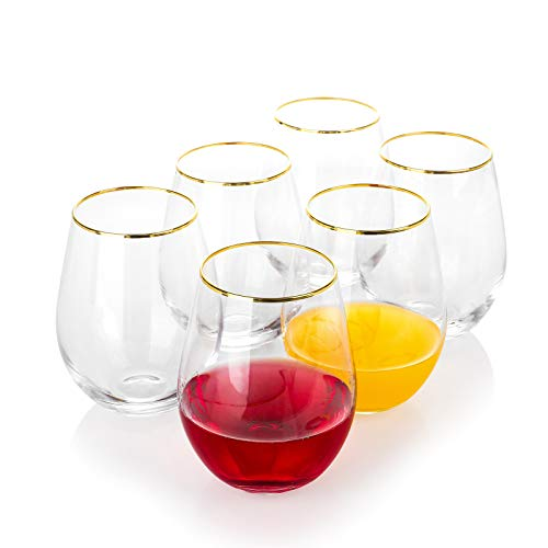 EVEREST GLOBAL Large Stemless Gold Rim Wine Glass set of 6 18 oz Suitable for any Occasion Great Gift Idea