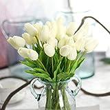 CQURE Artificial Flowers,Fake Flowers Bouquet Tulip Real Touch Bridal Wedding Bouquet for Home Garden Party Floral Decor 10 Pcs(White)