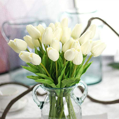 CQURE Artificial Flowers,Fake Flowers Bouquet Tulip Real Touch Bridal Wedding Bouquet for Home Garden Party Floral Decor 10 Pcs(White)