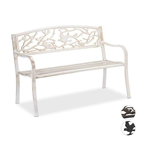 Relaxdays Gartenbank, Vögel Muster, 2-Sitzer, wetterfest, Anti-Rost-Beschichtung, Sitzbank, 87x127x57 cm, weiß/bronze