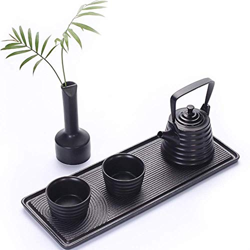 YISUNF VA-cake tray Beautifully Excellent Home Decor Gift Household Porcelain Japanese Style Teapot With Handle And Tea Cups Set Service For 2 Adult Afternoon Tea Party (Color : Black, Size : One size