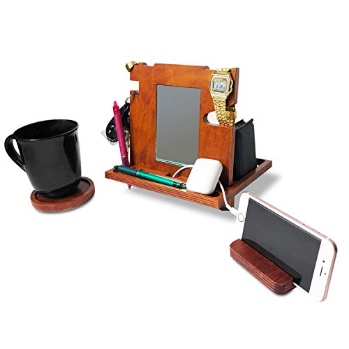 Wood Docking Station - for Men Walnut Organizer Smartphone Stand Watch Holder Bedside Nightstand Caddy with Mirror for Wallet Charging Docking Stand for Samsung Xmas Gift iPhone Dad