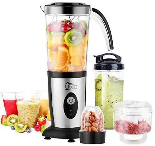 Uten Mixer, Küchenmaschine, klein, tragbar, Smoothie-Maker und Mixer, Familie, persönlicher Mixer für Milchshake, Obst, Gemüse, Getränke, Eis, 5-teiliges Set